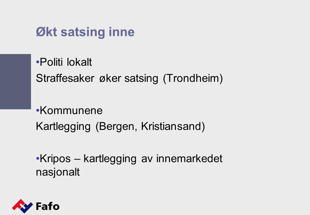 Økt satsing inne Politi lokalt Straffesaker øker satsing (Trondheim) Kommunene Kartlegging (Bergen, Kristiansand) Kripos – kartlegging av innemarkedet