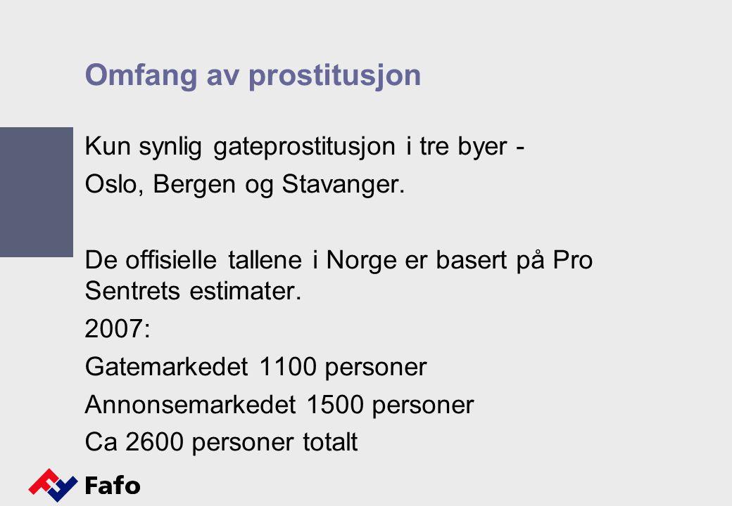 Omfang av prostitusjon Kun synlig gateprostitusjon i tre byer - Oslo, Bergen og Stavanger. De offisielle tallene i Norge er basert på Pro Sentrets est