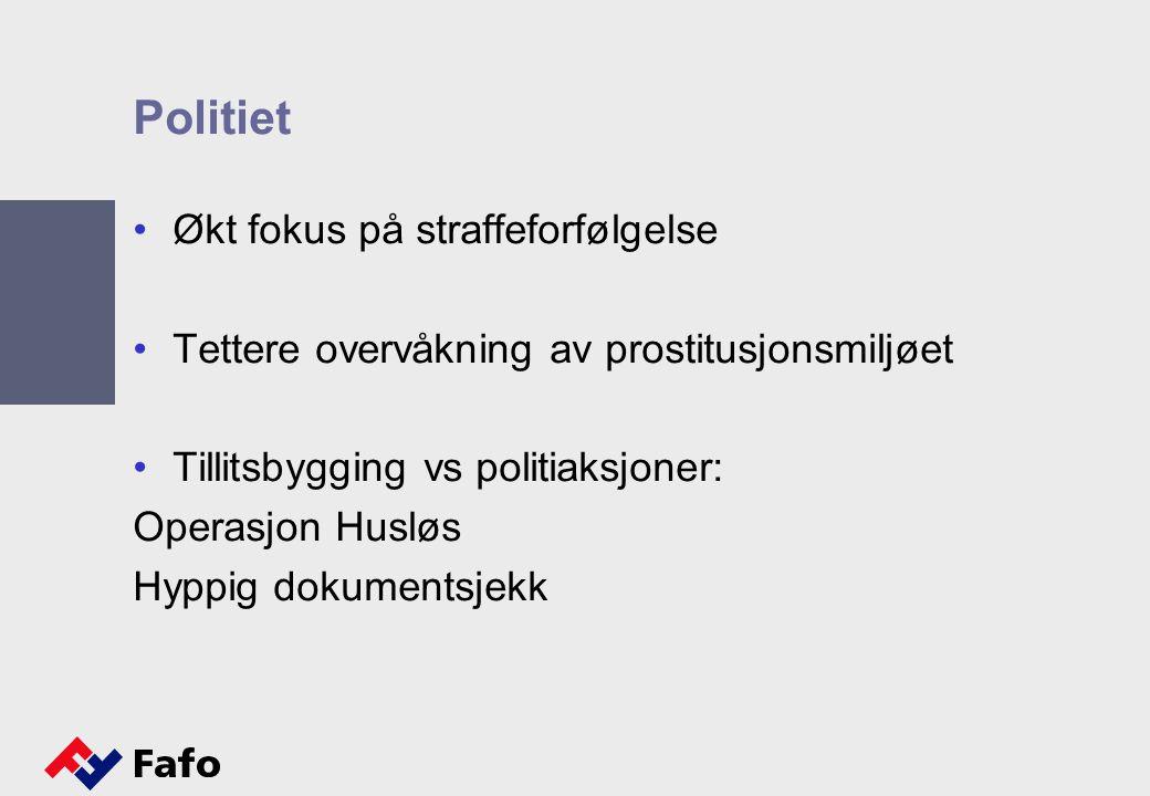 Politiet Økt fokus på straffeforfølgelse Tettere overvåkning av prostitusjonsmiljøet Tillitsbygging vs politiaksjoner: Operasjon Husløs Hyppig dokumen