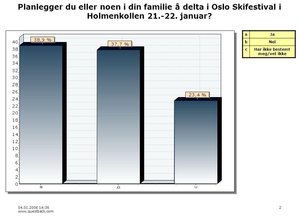 04.01.2006 14:36 www.questback.com 2 Planlegger du eller noen i din familie å delta i Oslo Skifestival i Holmenkollen 21.-22.
