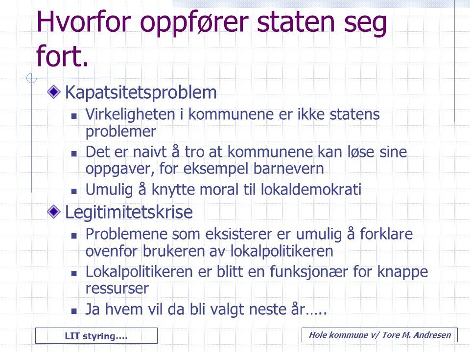 LIT styring…. Hole kommune v/ Tore M. Andresen Hvorfor oppfører staten seg fort. Kapatsitetsproblem Virkeligheten i kommunene er ikke statens probleme