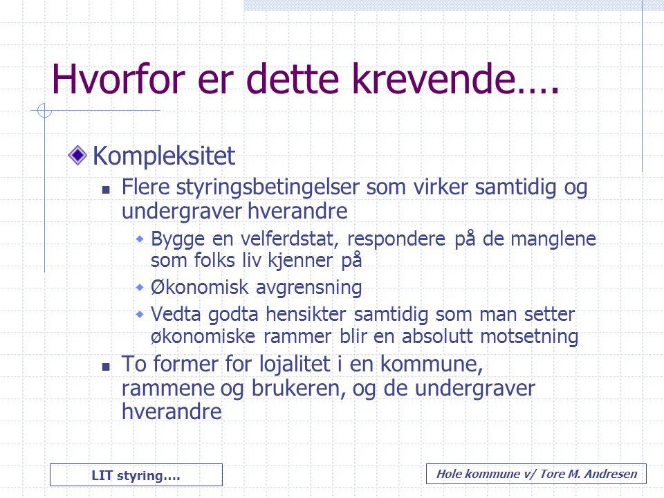 LIT styring…. Hole kommune v/ Tore M. Andresen Hvorfor er dette krevende…. Kompleksitet Flere styringsbetingelser som virker samtidig og undergraver h