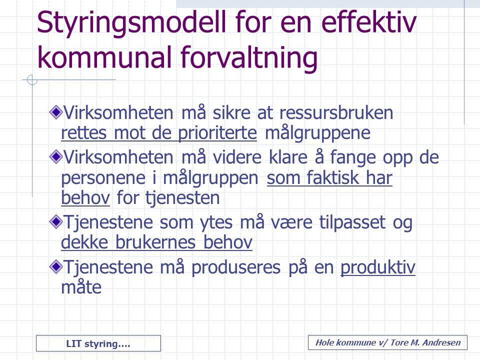 LIT styring…. Hole kommune v/ Tore M. Andresen Styringsmodell for en effektiv kommunal forvaltning Virksomheten må sikre at ressursbruken rettes mot d