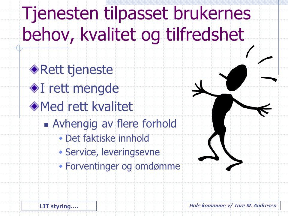 LIT styring…. Hole kommune v/ Tore M. Andresen Tjenesten tilpasset brukernes behov, kvalitet og tilfredshet Rett tjeneste I rett mengde Med rett kvali