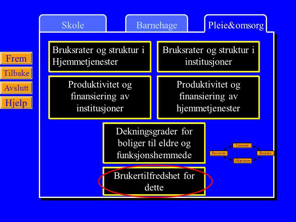 SkolePleie&omsorgBarnehage Frem Tilbake Avslutt Hjelp Bruksrater og struktur i Hjemmetjenester Brukertilfredshet for dette Produktivitet og finansieri