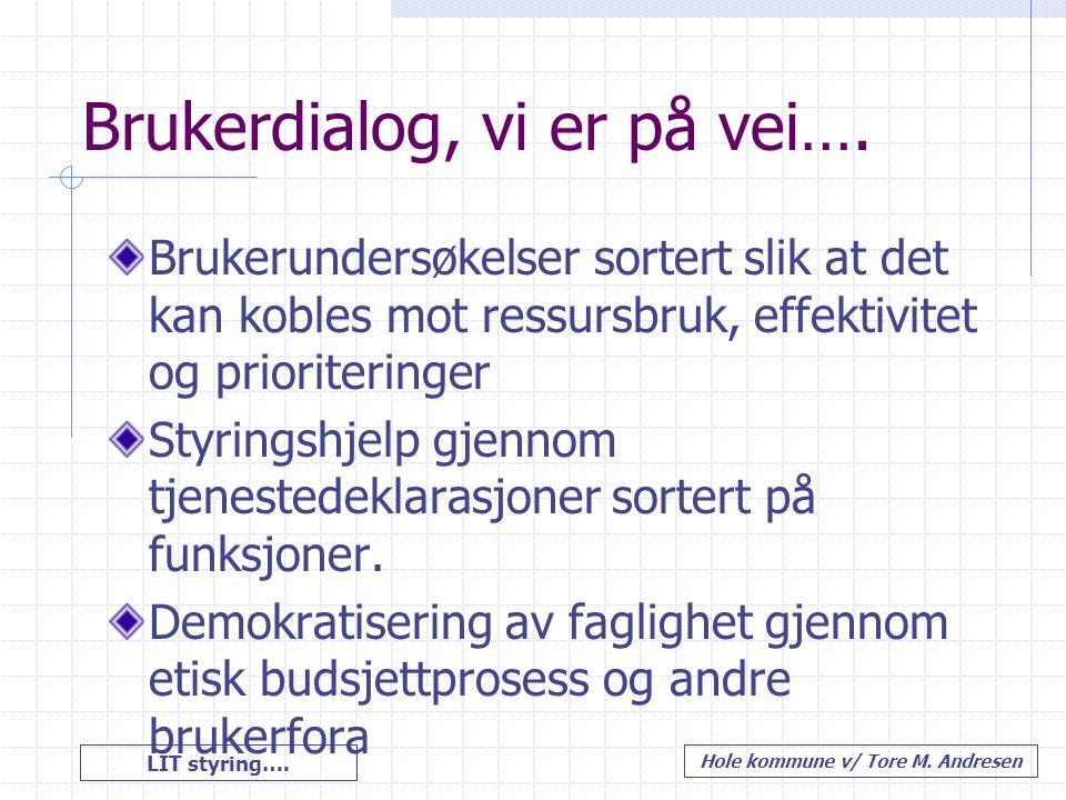 LIT styring…. Hole kommune v/ Tore M. Andresen Brukerdialog, vi er på vei…. Brukerundersøkelser sortert slik at det kan kobles mot ressursbruk, effekt