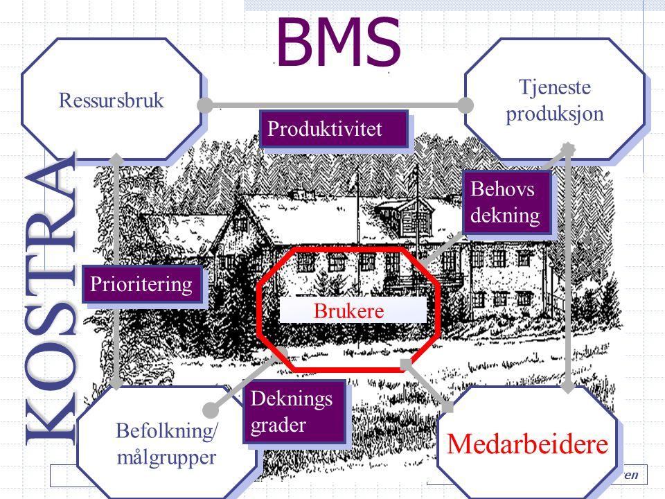 LIT styring…. Hole kommune v/ Tore M. Andresen BMS Ressursbruk Befolkning/ målgrupper Befolkning/ målgrupper Tjeneste produksjon Tjeneste produksjon P