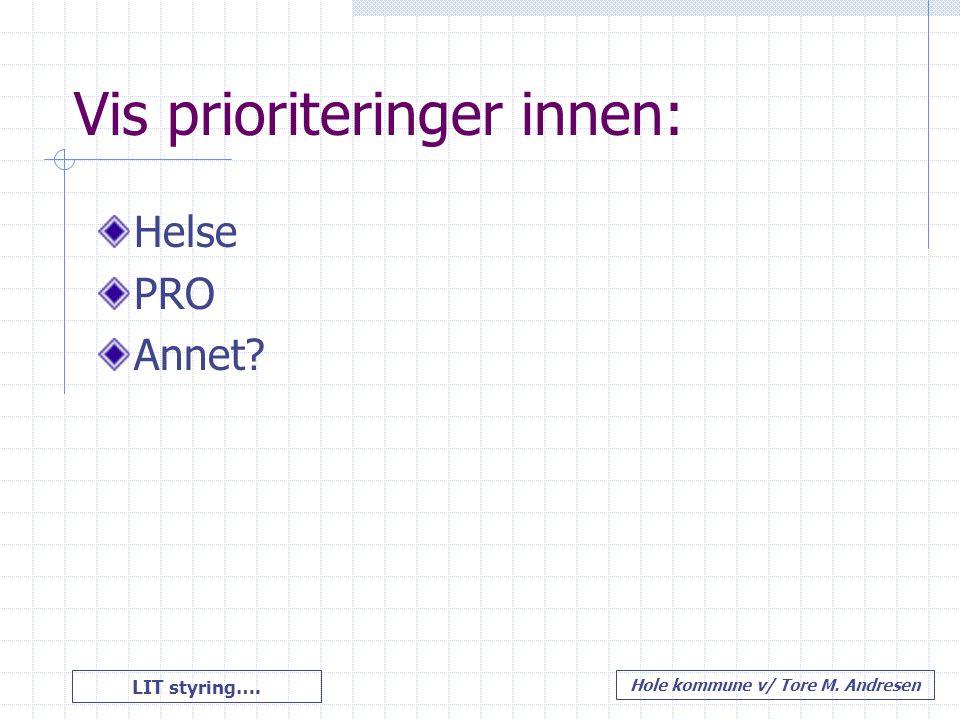 LIT styring…. Hole kommune v/ Tore M. Andresen Vis prioriteringer innen: Helse PRO Annet?