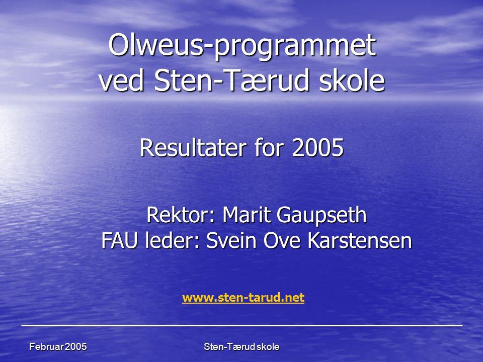 Sten-Tærud skole Februar 2005 Olweus-programmet ved Sten-Tærud skole Resultater for 2005 Rektor: Marit Gaupseth FAU leder: Svein Ove Karstensen www.st