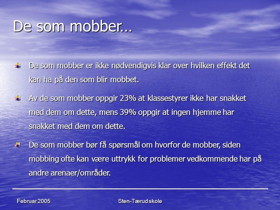 Sten-Tærud skole Februar 2005 De som mobber… De som mobber er ikke nødvendigvis klar over hvilken effekt det kan ha på den som blir mobbet. Av de som