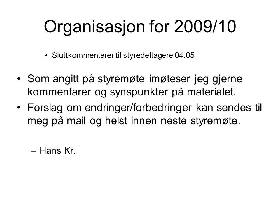 Organisasjon for 2009/10 Sluttkommentarer til styredeltagere 04.05 Som angitt på styremøte imøteser jeg gjerne kommentarer og synspunkter på materialet.