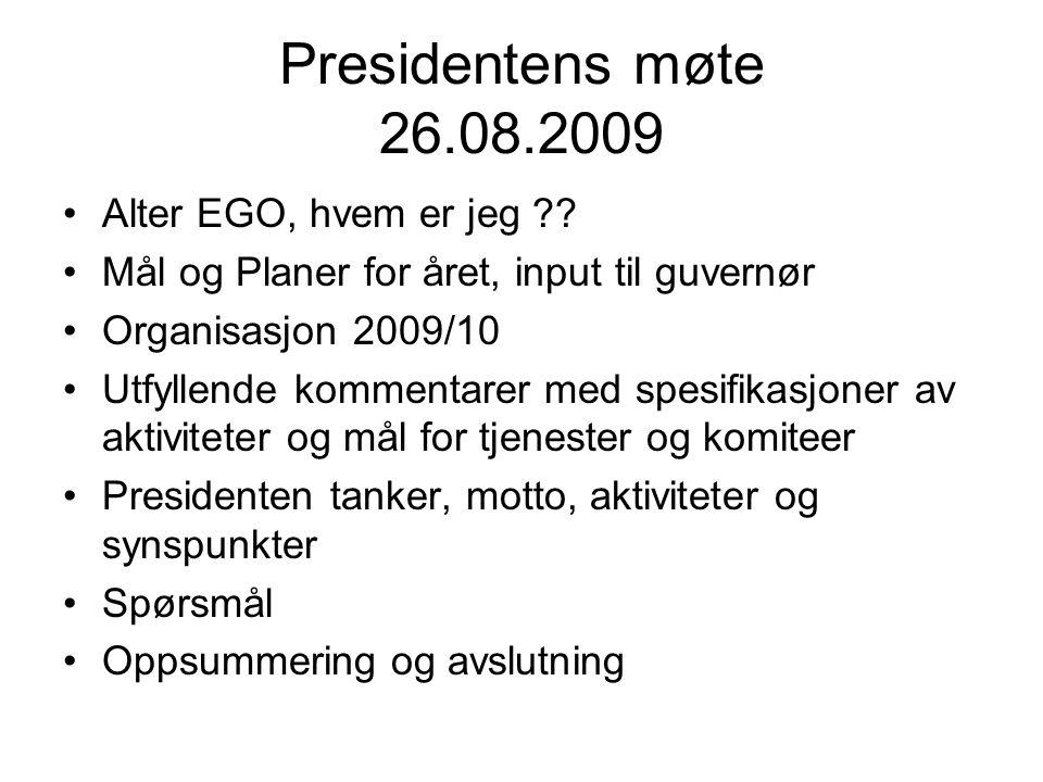 Presidentens møte 26.08.2009 Alter EGO, hvem er jeg .