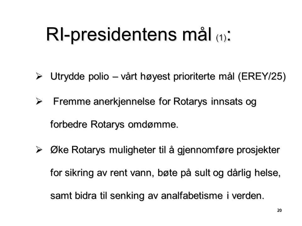 RI-presidentens mål (1) :  Utrydde polio – vårt høyest prioriterte mål (EREY/25)  Fremme anerkjennelse for Rotarys innsats og forbedre Rotarys omdømme.