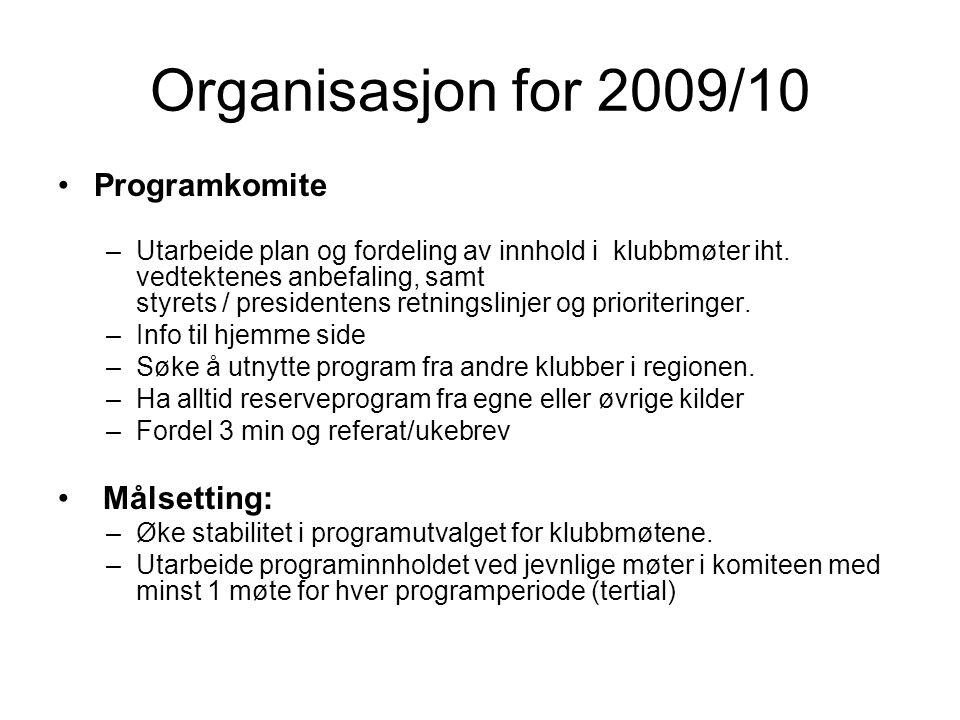 Organisasjon for 2009/10 Programkomite –Utarbeide plan og fordeling av innhold i klubbmøter iht.