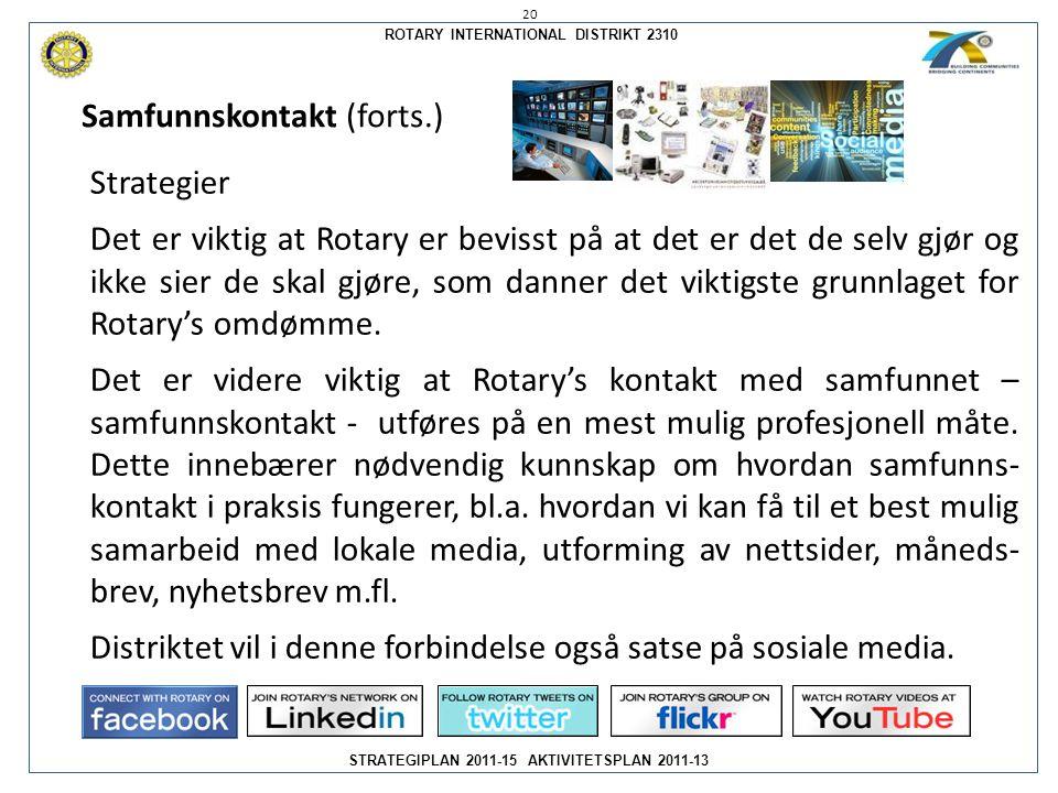 ROTARY INTERNATIONAL DISTRIKT 2310 STRATEGIPLAN 2011-15 AKTIVITETSPLAN 2011-13 Strategier Det er viktig at Rotary er bevisst på at det er det de selv