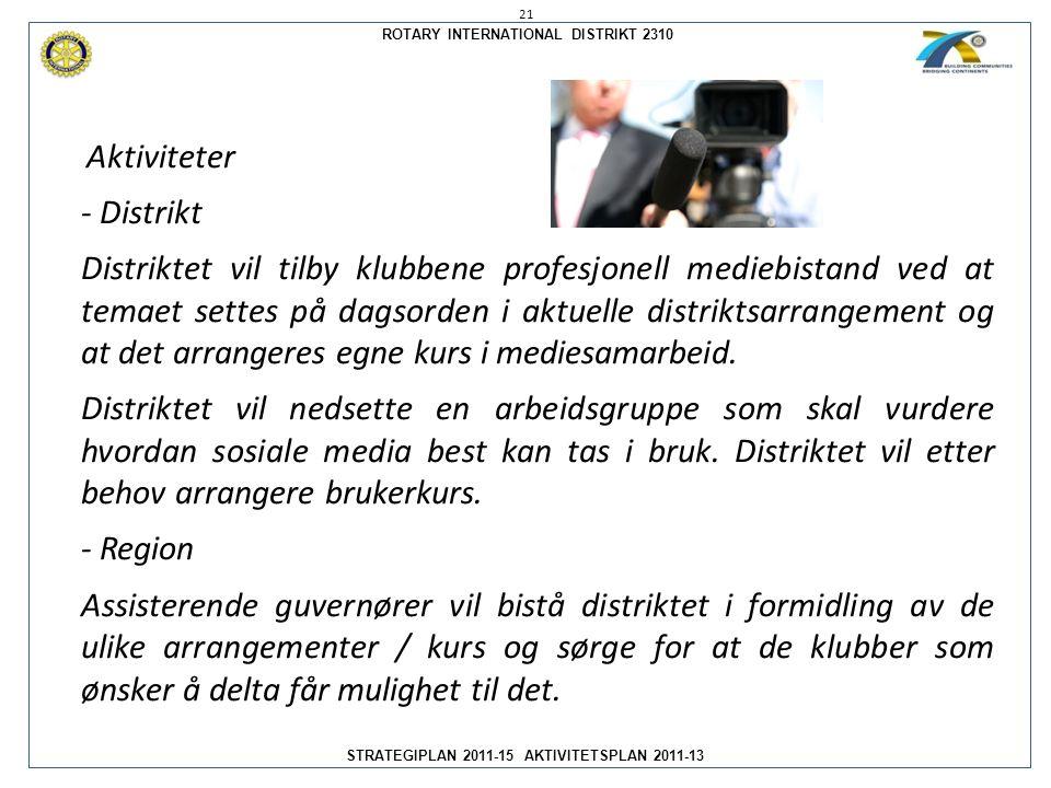 ROTARY INTERNATIONAL DISTRIKT 2310 STRATEGIPLAN 2011-15 AKTIVITETSPLAN 2011-13 Aktiviteter - Distrikt Distriktet vil tilby klubbene profesjonell medie
