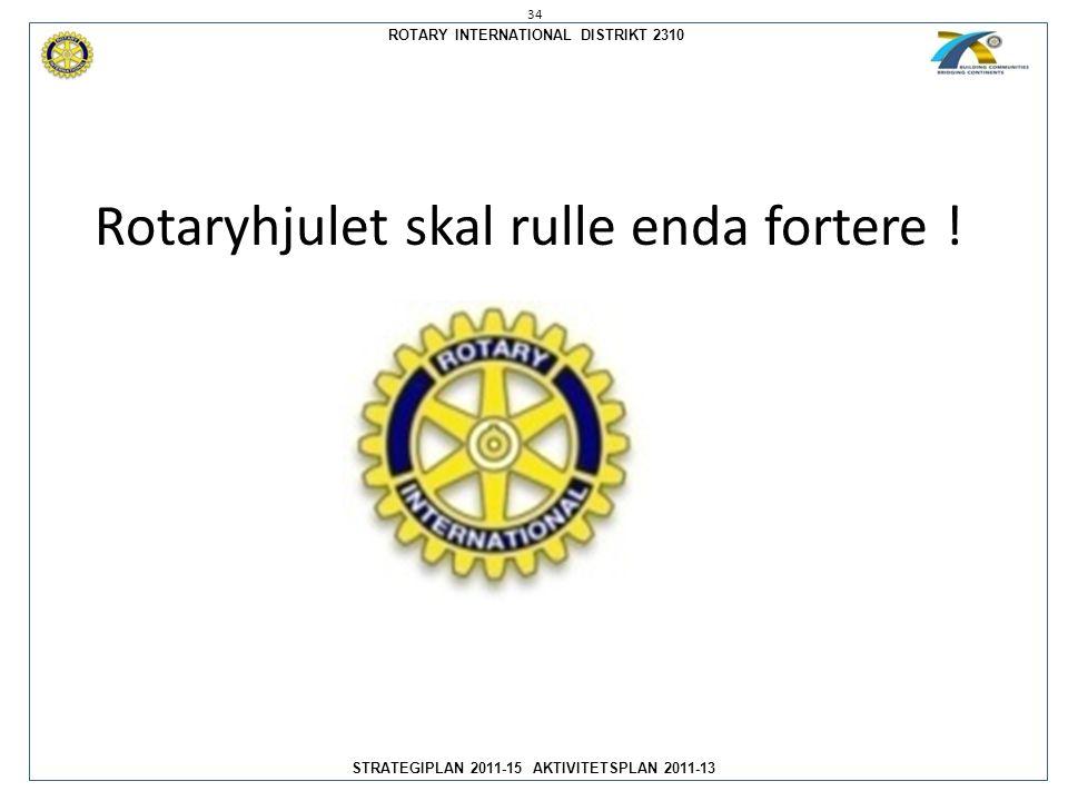 ROTARY INTERNATIONAL DISTRIKT 2310 STRATEGIPLAN 2011-15 AKTIVITETSPLAN 2011-13 34 Rotaryhjulet skal rulle enda fortere !