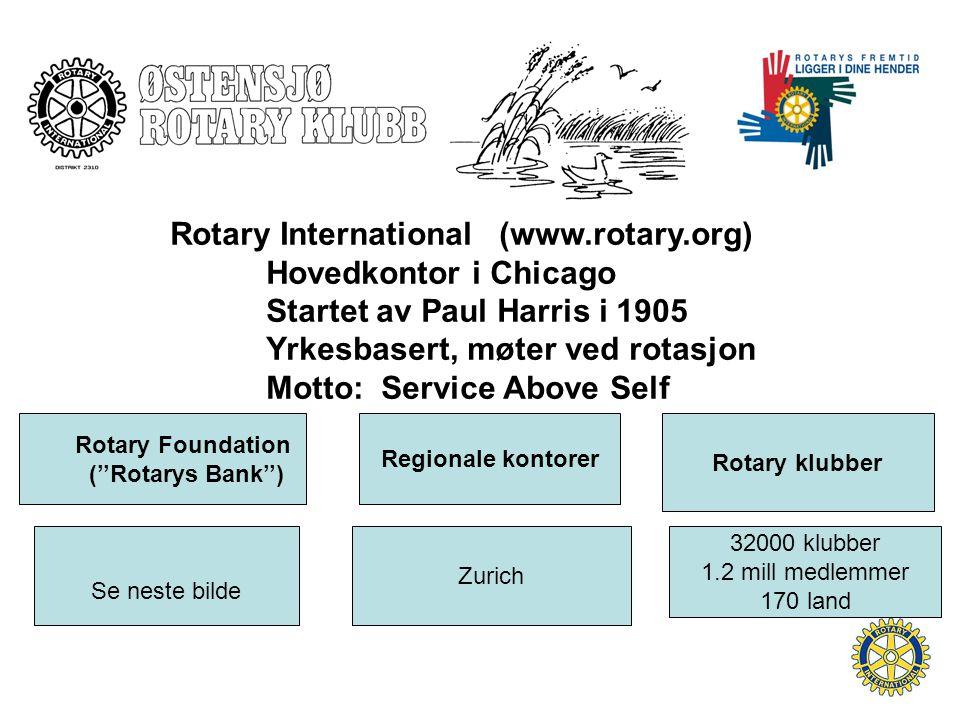 Rotary International (www.rotary.org) Hovedkontor i Chicago Startet av Paul Harris i 1905 Yrkesbasert, møter ved rotasjon Motto: Service Above Self Rotary Foundation (''Rotarys Bank'') Rotary klubber Regionale kontorer Se neste bilde 32000 klubber 1.2 mill medlemmer 170 land Zurich
