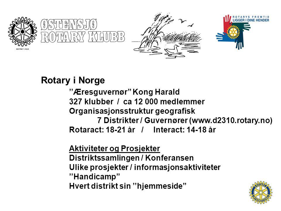 Rotary i Norge ''Æresguvernør'' Kong Harald 327 klubber / ca 12 000 medlemmer Organisasjonsstruktur geografisk 7 Distrikter / Guvernører (www.d2310.rotary.no) Rotaract: 18-21 år / Interact: 14-18 år Aktiviteter og Prosjekter Distriktssamlingen / Konferansen Ulike prosjekter / informasjonsaktiviteter ''Handicamp'' Hvert distrikt sin ''hjemmeside''