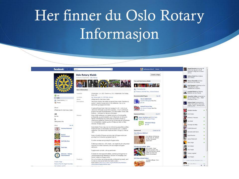 Her finner du Oslo Rotary Informasjon