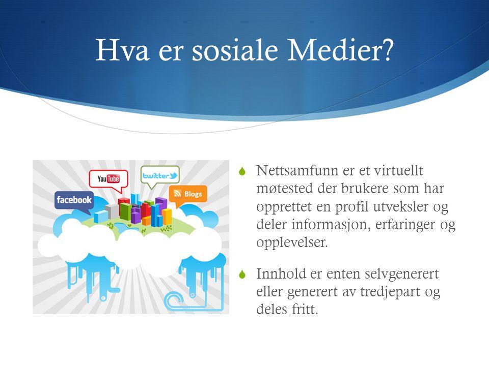 Hva er sosiale Medier?  Nettsamfunn er et virtuellt møtested der brukere som har opprettet en profil utveksler og deler informasjon, erfaringer og op