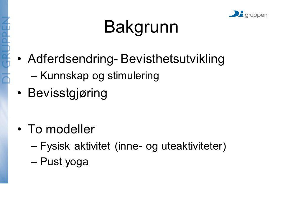 Bakgrunn Adferdsendring- Bevisthetsutvikling –Kunnskap og stimulering Bevisstgjøring To modeller –Fysisk aktivitet (inne- og uteaktiviteter) –Pust yoga
