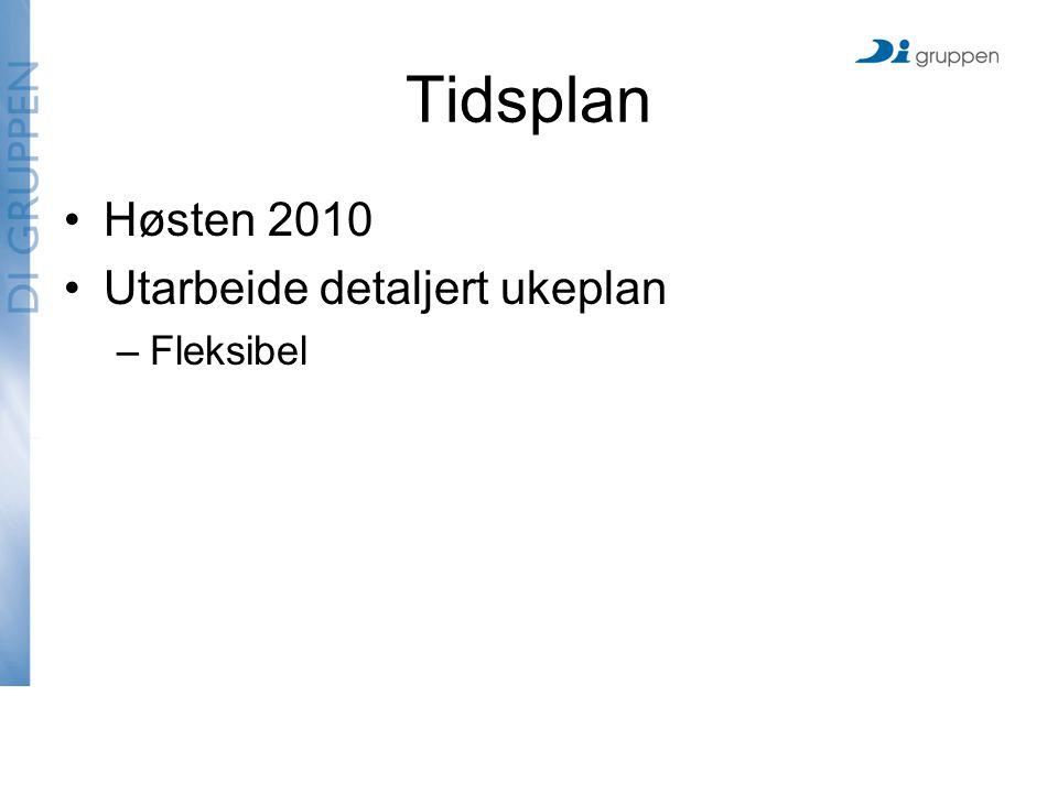Tidsplan Høsten 2010 Utarbeide detaljert ukeplan –Fleksibel