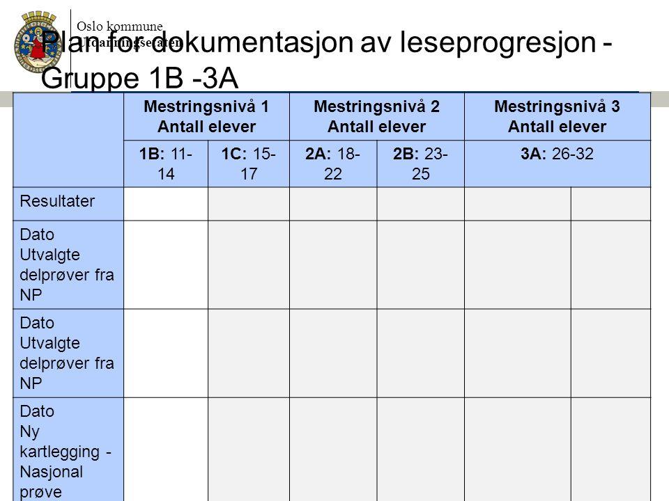 Oslo kommune Utdanningsetaten Plan for dokumentasjon av leseprogresjon - Gruppe 1B -3A Mestringsnivå 1 Antall elever Mestringsnivå 2 Antall elever Mes
