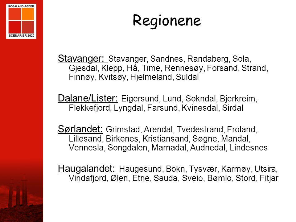 STAVANGER Regionene Stavanger: Stavanger, Sandnes, Randaberg, Sola, Gjesdal, Klepp, Hå, Time, Rennesøy, Forsand, Strand, Finnøy, Kvitsøy, Hjelmeland,