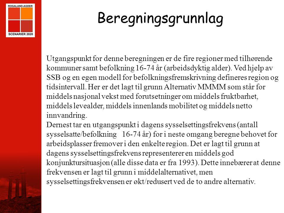 STAVANGER Beregningsgrunnlag Utgangspunkt for denne beregningen er de fire regioner med tilhørende kommuner samt befolkning 16-74 år (arbeidsdyktig al