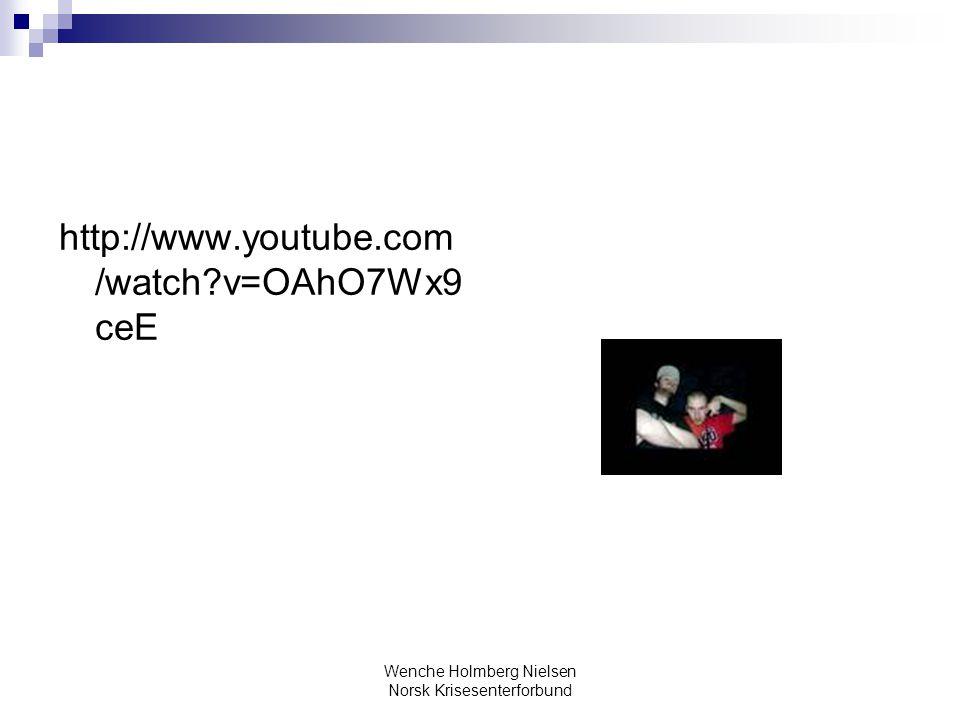Wenche Holmberg Nielsen Norsk Krisesenterforbund http://www.youtube.com /watch?v=OAhO7Wx9 ceE