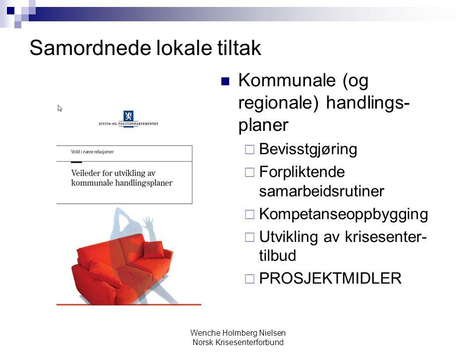 Wenche Holmberg Nielsen Norsk Krisesenterforbund Samordnede lokale tiltak Kommunale (og regionale) handlings- planer  Bevisstgjøring  Forpliktende s