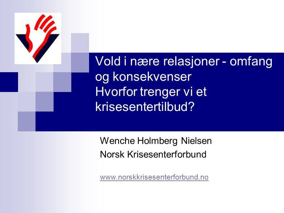 Wenche Holmberg Nielsen Norsk Krisesenterforbund Krisesenterstatistikk 2008 Kvinner 2702 opphold Barn 2217 opphold Overnattingsdøgn116 167 Dagbesøk7146 Telefoner42426