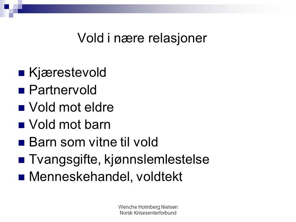Wenche Holmberg Nielsen Norsk Krisesenterforbund Vold i nære relasjoner Kjærestevold Partnervold Vold mot eldre Vold mot barn Barn som vitne til vold