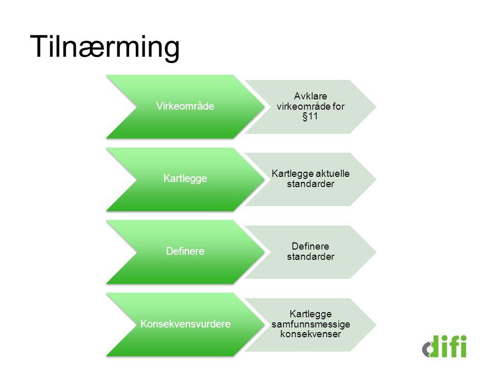 Tilnærming Virkeområde Avklare virkeområde for §11 Kartlegge Kartlegge aktuelle standarder Definere Definere standarder Konsekvensvurdere Kartlegge samfunnsmessige konsekvenser