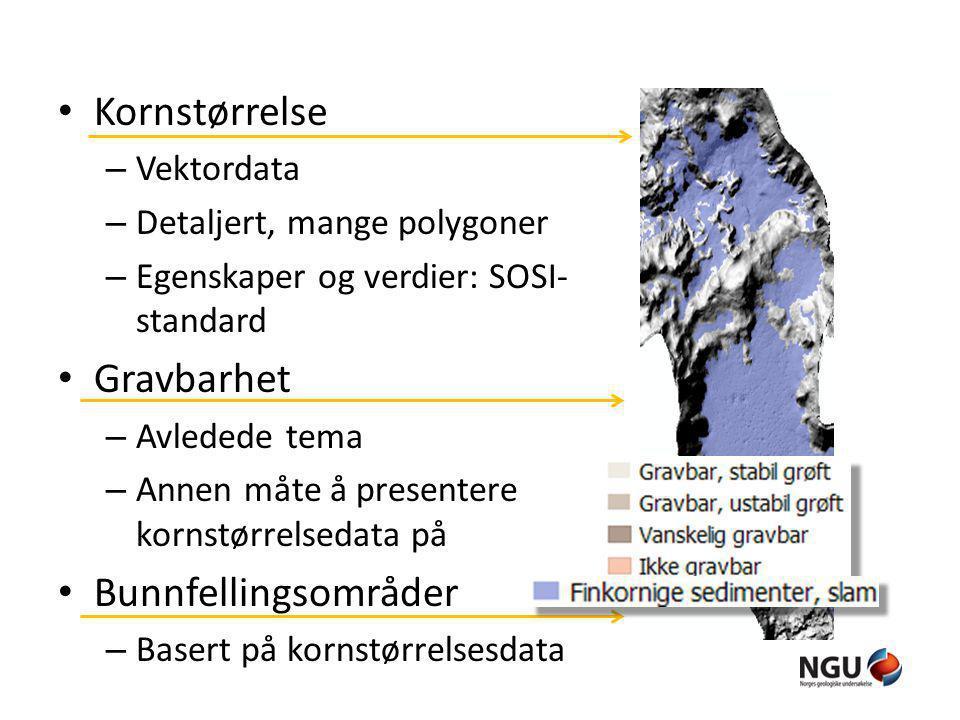 Kornstørrelse – Vektordata – Detaljert, mange polygoner – Egenskaper og verdier: SOSI- standard Gravbarhet – Avledede tema – Annen måte å presentere k