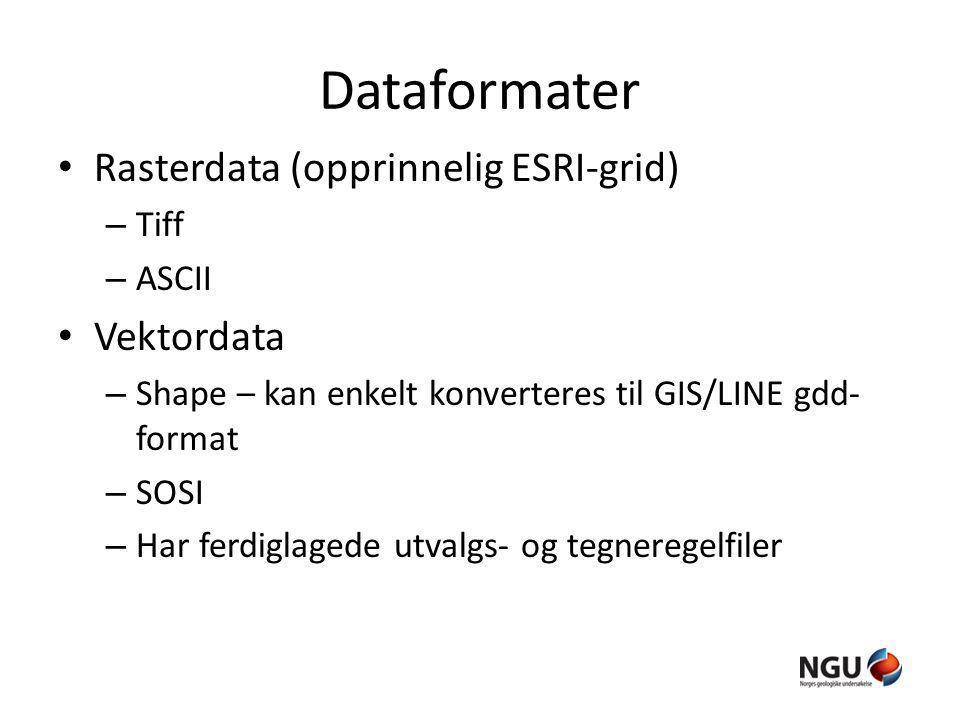 Dataformater Rasterdata (opprinnelig ESRI-grid) – Tiff – ASCII Vektordata – Shape – kan enkelt konverteres til GIS/LINE gdd- format – SOSI – Har ferdiglagede utvalgs- og tegneregelfiler