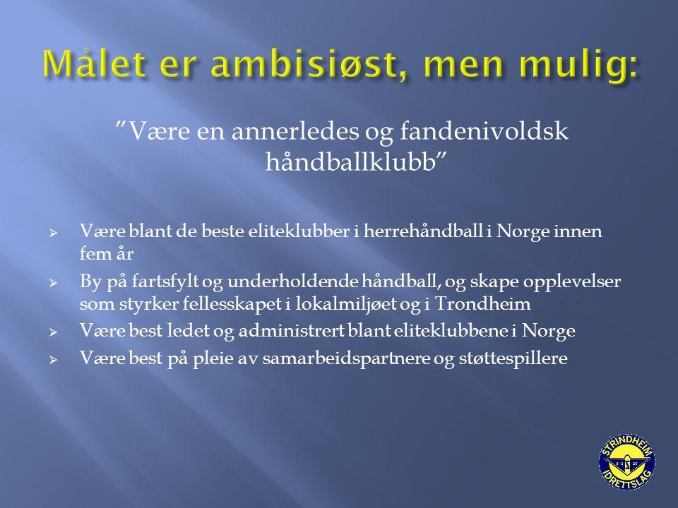 """""""Være en annerledes og fandenivoldsk håndballklubb""""  Være blant de beste eliteklubber i herrehåndball i Norge innen fem år  By på fartsfylt og under"""