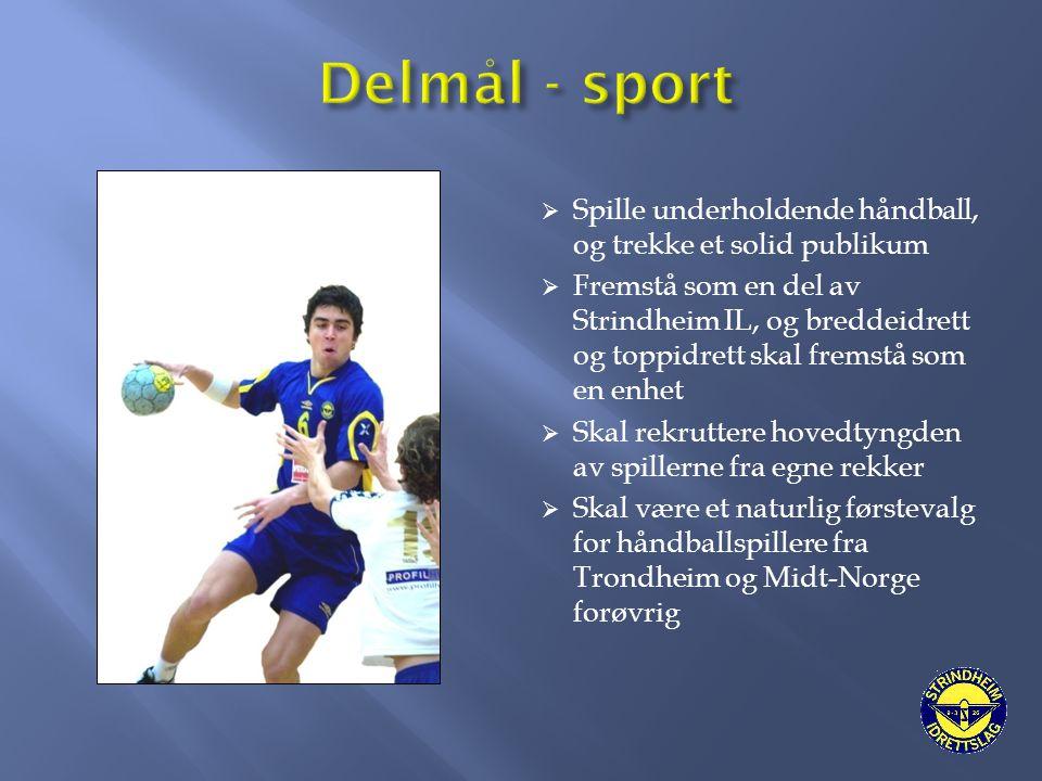  Spille underholdende håndball, og trekke et solid publikum  Fremstå som en del av Strindheim IL, og breddeidrett og toppidrett skal fremstå som en