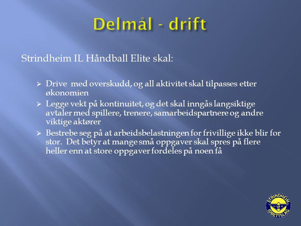 Strindheim IL Håndball Elite skal:  Drive med overskudd, og all aktivitet skal tilpasses etter økonomien  Legge vekt på kontinuitet, og det skal inn