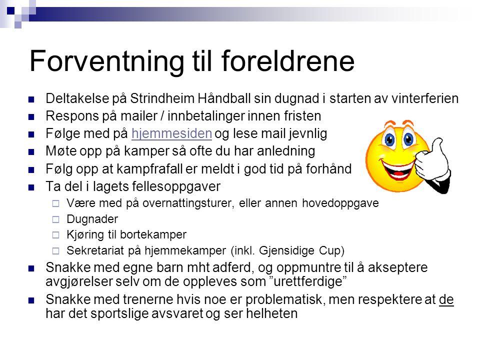 Forventning til foreldrene Deltakelse på Strindheim Håndball sin dugnad i starten av vinterferien Respons på mailer / innbetalinger innen fristen Følg