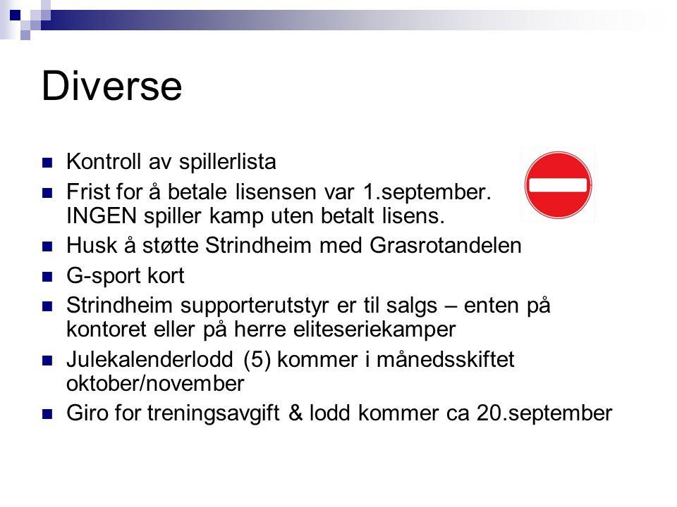 Diverse Kontroll av spillerlista Frist for å betale lisensen var 1.september. INGEN spiller kamp uten betalt lisens. Husk å støtte Strindheim med Gras