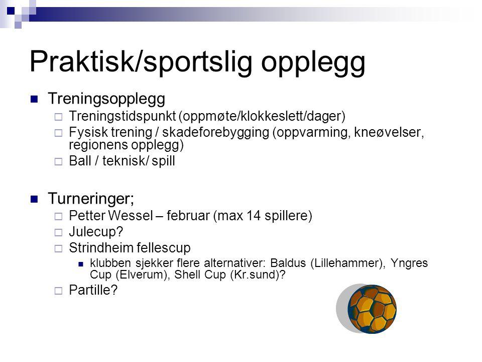 Praktisk/sportslig opplegg Treningsopplegg  Treningstidspunkt (oppmøte/klokkeslett/dager)  Fysisk trening / skadeforebygging (oppvarming, kneøvelser, regionens opplegg)  Ball / teknisk/ spill Turneringer;  Petter Wessel – februar (max 14 spillere)  Julecup.