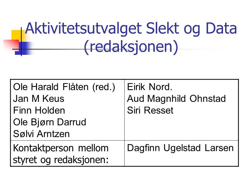 Aktivitetsutvalget Slekt og Data (redaksjonen) Ole Harald Flåten (red.) Jan M Keus Finn Holden Ole Bjørn Darrud Sølvi Arntzen Eirik Nord. Aud Magnhild