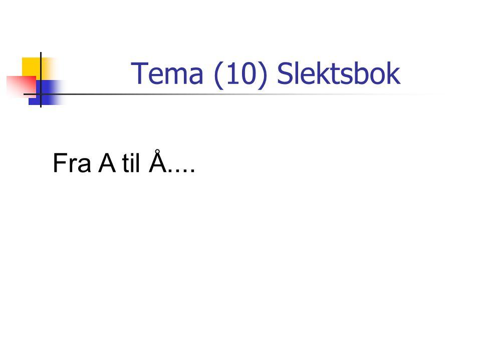 Tema (10) Slektsbok Fra A til Å....