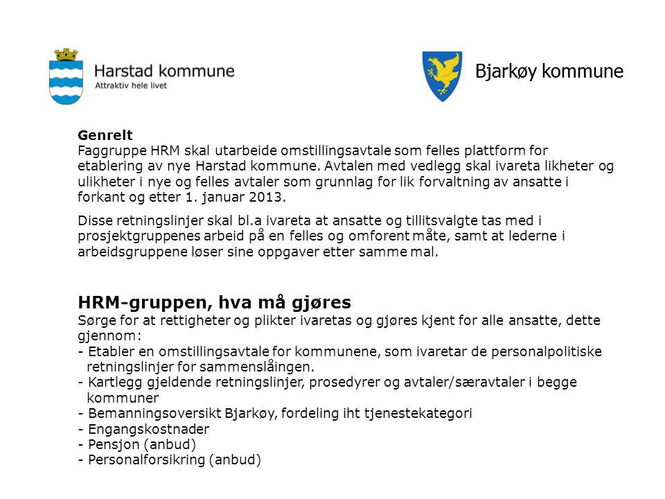 Bjarkøy kommune Genrelt Faggruppe HRM skal utarbeide omstillingsavtale som felles plattform for etablering av nye Harstad kommune. Avtalen med vedlegg