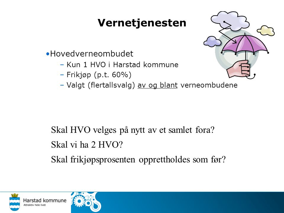 Vernetjenesten Hovedverneombudet – Kun 1 HVO i Harstad kommune – Frikjøp (p.t. 60%) – Valgt (flertallsvalg) av og blant verneombudene Skal HVO velges
