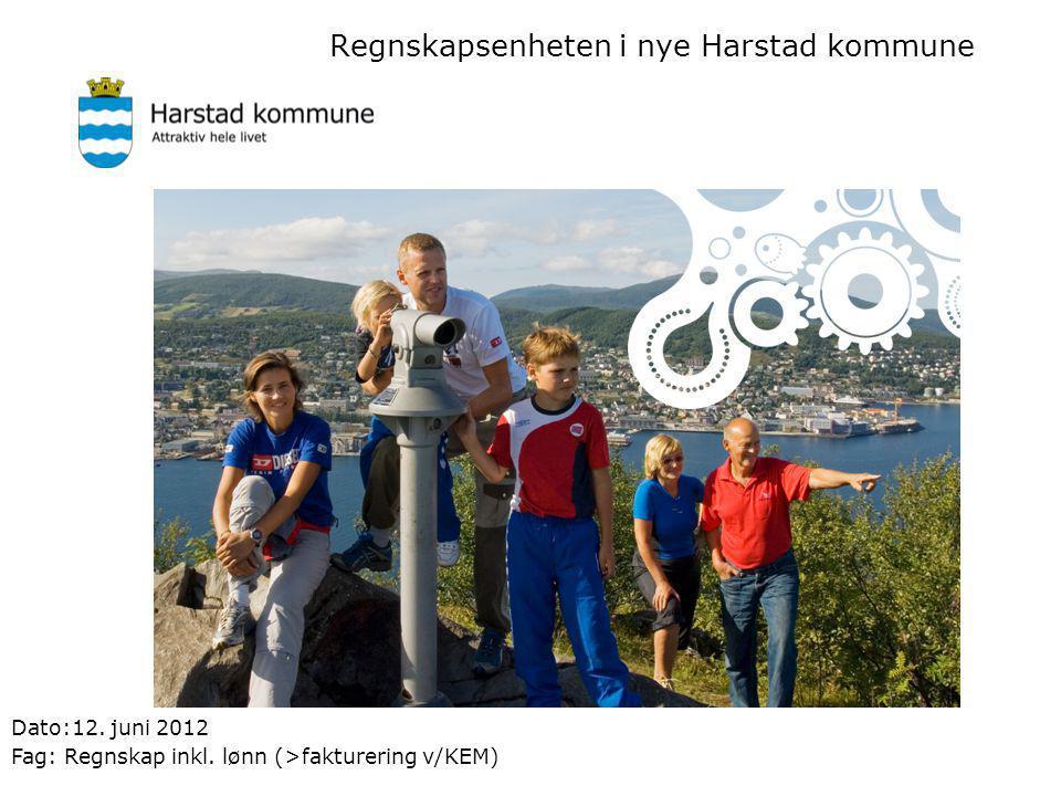 Regnskapsenheten i nye Harstad kommune Dato:12. juni 2012 Fag: Regnskap inkl. lønn (>fakturering v/KEM)