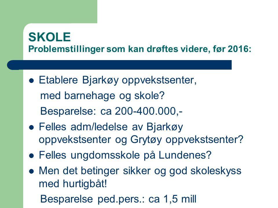 SKOLE Problemstillinger som kan drøftes videre, før 2016: Etablere Bjarkøy oppvekstsenter, med barnehage og skole? Besparelse: ca 200-400.000,- Felles