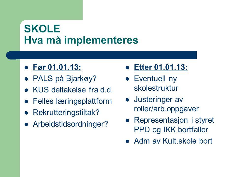 SKOLE Hva må implementeres Før 01.01.13: PALS på Bjarkøy? KUS deltakelse fra d.d. Felles læringsplattform Rekrutteringstiltak? Arbeidstidsordninger? E